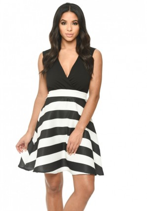 Women's Black Plunge Skater Dress With Striped Print