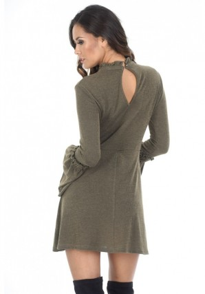 Women's Khaki High Neck Bell Sleeve Tunic