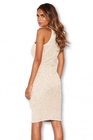 Women's Champagne Sequin Midi Dress
