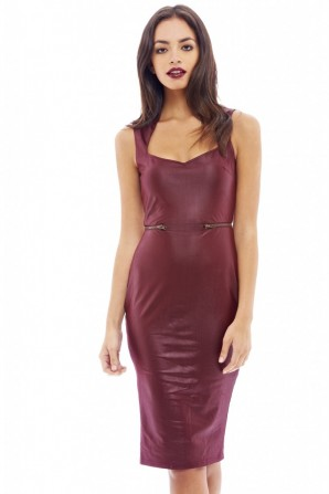 Women's Zip Detail Pu Front Wine Dress