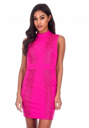 Women's Cerise Crochet Detail High Neck Midi Dress