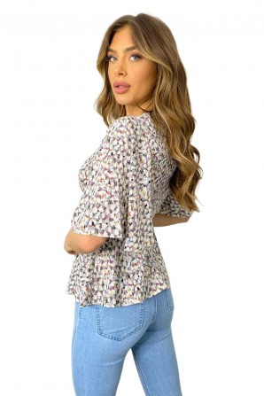 Women's Grey Multi Abstract Flared Blouse