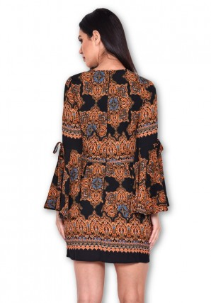 Women's Black Printed Bell Sleeve Dress