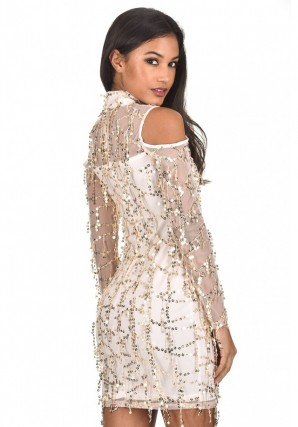 Women's Champagne Long Sleeve Sequin Cut Out Dress