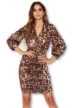 Women's Animal Print Open Back Ruched Dress