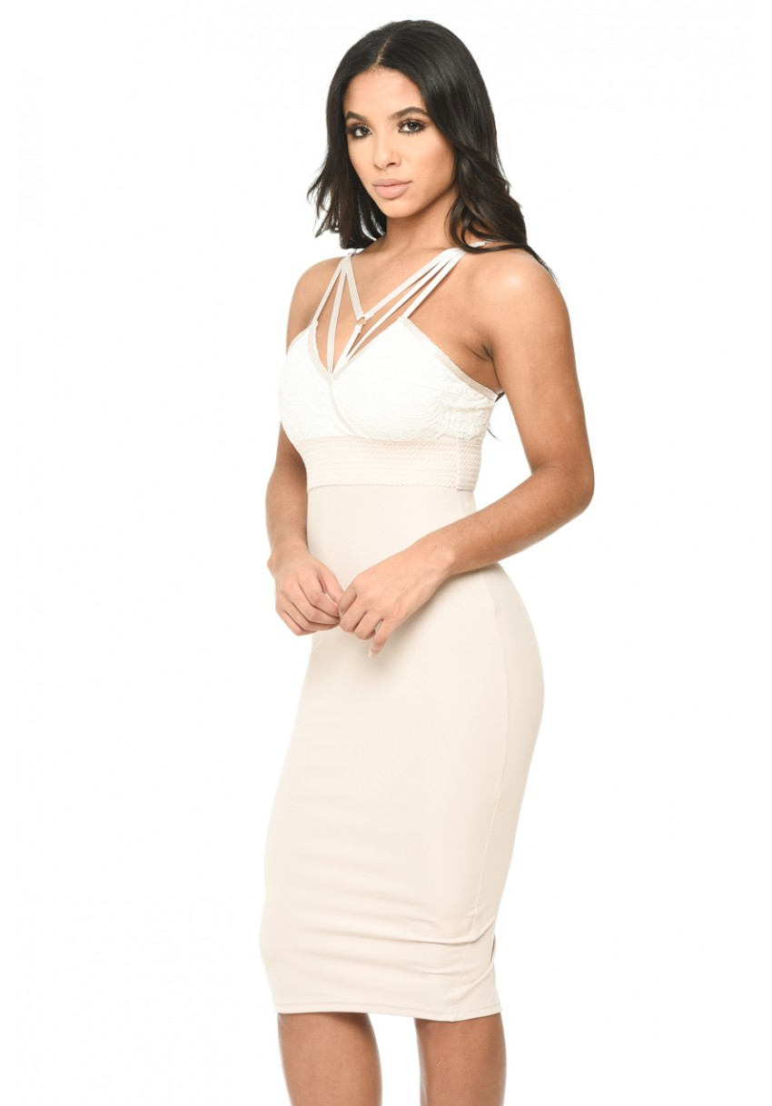 Women s Contrast Bodycon Midi Dress With Lace Detail - AX Paris USA ... e7008ca41