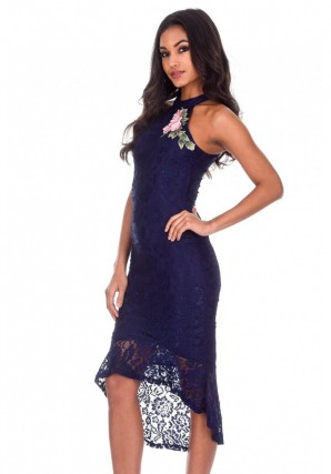 Women's Navy Lace Choker Neck Midi Dress
