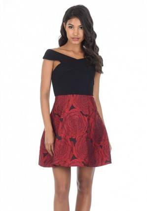 Women's Black Red Contrast 2 In 1 Floral Dress