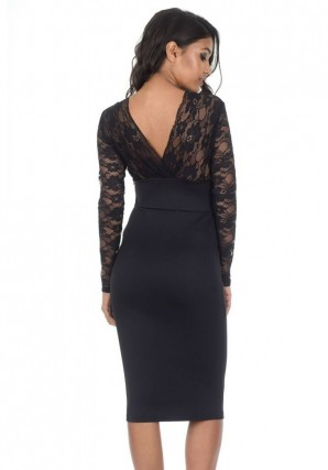 Women's Black Bodycon Dress With Lace Top