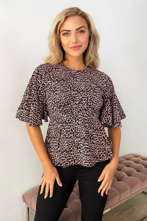 Women's Pink Leopard Print Flared Blouse