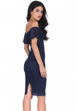 Women's Navy Ruffled Off The Shoulder Lace Midi Dress