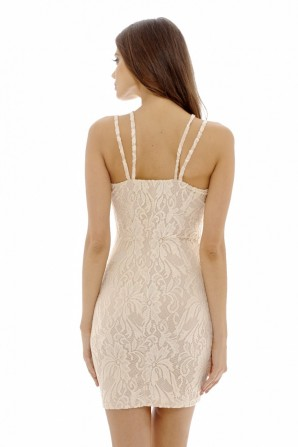 Women's Multi Strap Lace Overlay Bodycon  Nude Dress