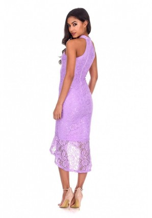 Women's Lilac Lace Choker Neck Fishtail Hem Bodycon Dress