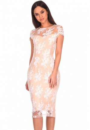 Women's Nude Floral Lace Midi Dress