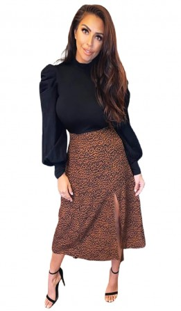 Women's Black 2 in 1 Puff Sleeve Leopard Print Dress