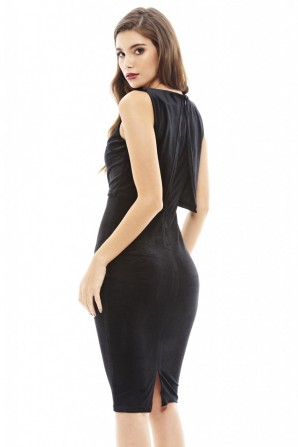 Women's Cropped Overlay Velvet  Black Dress