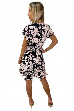 Women's Black Nude Abstract Print Wrap Over Dress