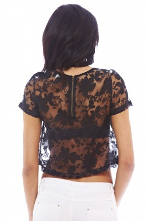 Women's Sheer Lace Cropped Black Top