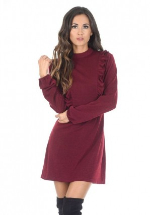 Women's Wine Skater Dress With Frill Detail