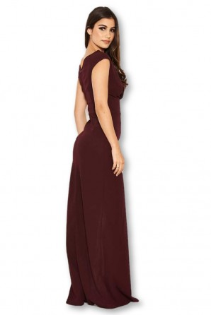 Women's Plum Wrap V Neck Slit Maxi Dress