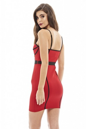 Women's Line Detailed Bodycon Red Dress