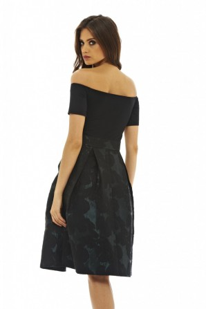 Women's 2 In 1 Midi Skater  Black Green Dress