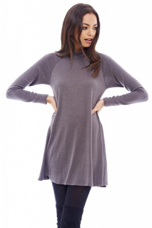 Women's Turtle Neck Swing Grey Dress