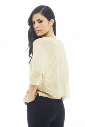Women's Knitted Plain Top In Stone