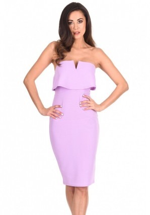 Women's Lilac Notch Front Bodycon Dress