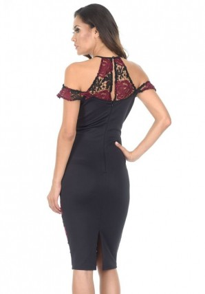 Women's Black and Wine Embroidered Frill Midi Dress