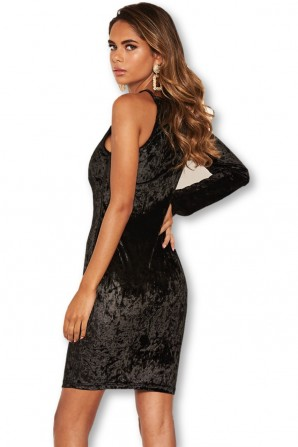 Women's Black Crushed Velvet One Sleeve Dress