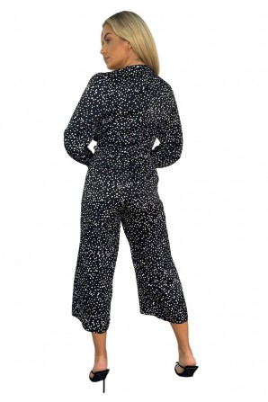 Women's Black Dotty Long Sleeve Wrap Over Belted Jumpsuit