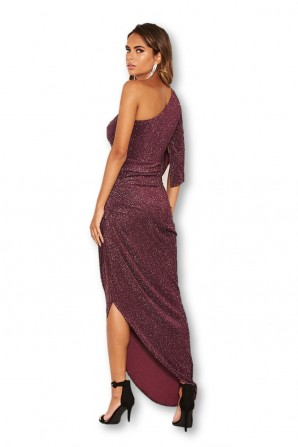 Women's One Shoulder Sparkle Plum Maxi Dress