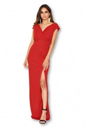 Women's Red Wrap V Neck Slit Maxi Dress