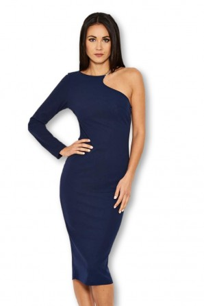 Women's Navy One Shoulder Dress With Gold Detail