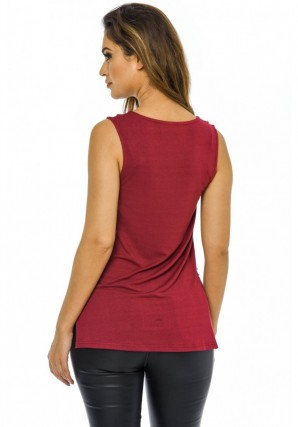 Women's Wine Lace Front Top