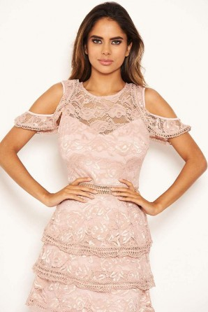 Women's Mushroom Lace Frill Cold Shoulder Dress