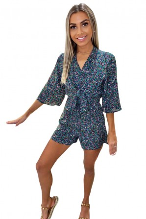 Women's Multi Floral Ditsy Print Tie Front Romper