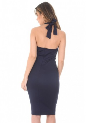 Women's Navy Crochet Top Bodycon Midi Dress