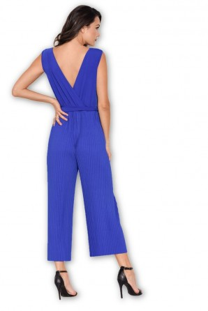 Women's Blue Culotte Pleated Tie Waist Jumpsuit