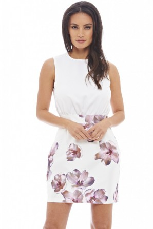 Women's 2 In 1 Floral Mini Cream Dress