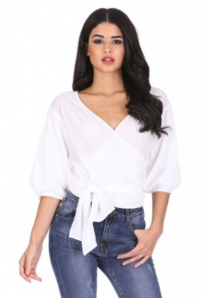 Women's Cream Wrap Crop Top