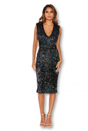 Women's Black Sequin Velvet V Neck Midi Dress