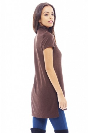 Women's Polo Neck Knitted Chocolate Sweater