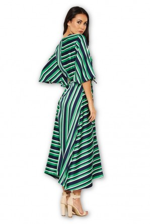 Women's Green Striped Wrap Over Dress
