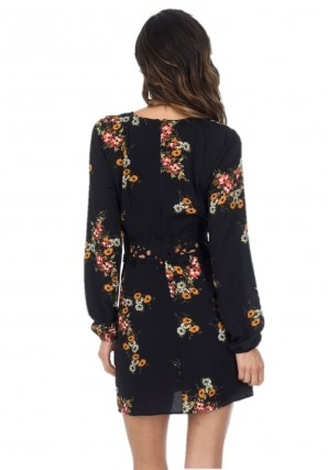 Women's Black Floral Skater Dress