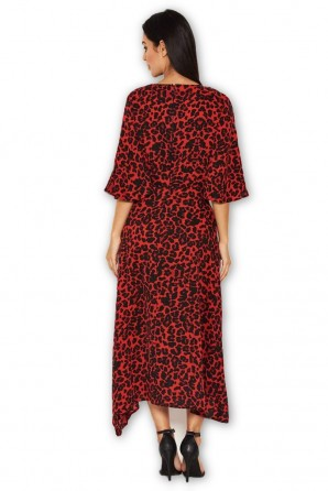 Women's Red Leopard Printed Midi Dress