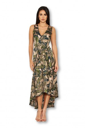 Women's Khaki V Neck Leaf Print Dress