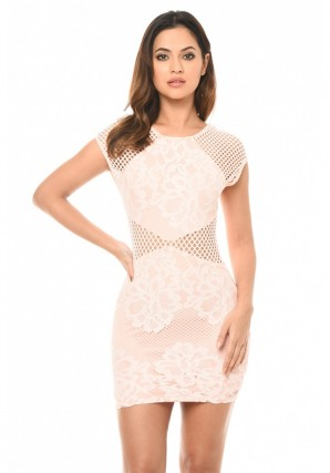 Women's Pink Lace Mini Dress With Cut Out Detail