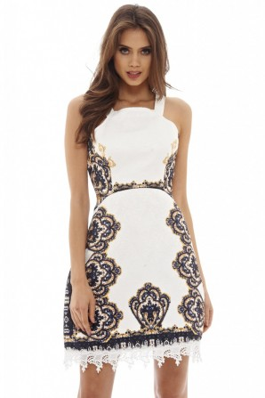 Women's Baroque Printed  Cream Dress